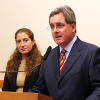 Deputy City Attorney Sara Eisenberg and City Attorney Dennis Herrera, at a Jan. 2, 2014 news conference on the ACCJC case.