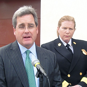 City Attorney Dennis Herrera and SFFD Chief Joanne Hayes-White, at a March 2011 news conference.