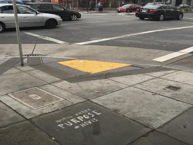 Illegal Justin Bieber graffiti at Grove and Divisadero (San Francisco Public Works)