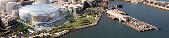 When completed, the Golden State Warriors' multi-purpose event center and mixed-use development project will include office, retail, structured parking, and open space on an approximately 11-acre site within the Mission Bay South Redevelopment Plan Area.