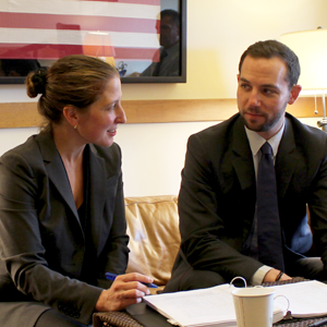 Deputy City Attorneys Sara Eisenberg and Brad Russi discuss litigation strategy after winning a key procedural ruling on March 22, 2016.