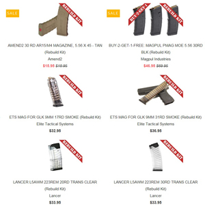 "A screenshot of Badger Mountain Supply's website advertising ""Rebuild Kits."""