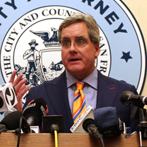 City Attorney Dennis Herrera at a press conference on Apr. 25, 2017 after a federal district court ruling put a nationwide halt to enforcement of President Donald Trump's executive order on sanctuary cities.